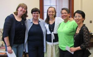Sisters Arrianne Whittaker, Carole Kimes, Tracey Horan, Joni Luna and Anna Fan after the blessing.