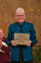 Sister Lisa Stalling presents Sister Denise Wilkinson's brick