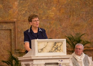 Sister Dawn Tomaszewki presents her reflections after the installation ceremony