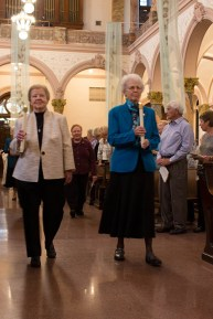 Sister Nancy Nolan and Sister Ann Margaret O'Hara, formal General Superior's lead the entrance to the procession