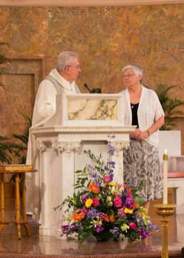 Father Dan Hopcus and Sister Denise Wilkinson, outgoing General Superior, prior to the assembly blessing Sister Denise