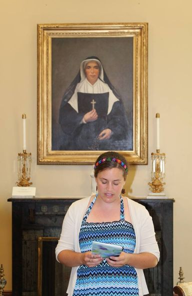 The newest woman to follow in the footsteps of Saint Mother Theodore Guerin as a Sister of Providence: Emily Tekolste during her entrance prayer ritual.