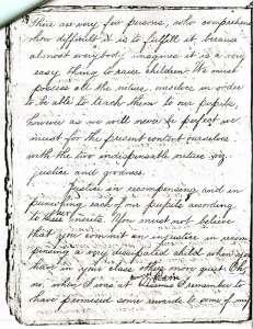 Saint Mother Theodore Guerin's hand-written notes on instructing children.