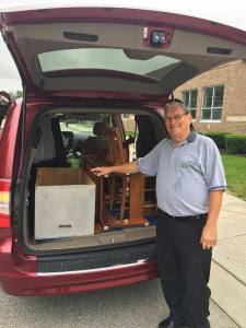 Providence Associate Sandra Hartlieb's husband Ron packs her up and drives her to new locations so she can share Saint Mother Theodore Guerin with others.