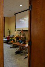 Providence Associates Assistant Director Debbie Dillow introduces General Officer Sister Jeanne Hagelskamp.