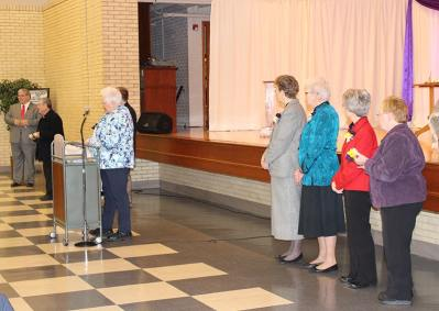 Sisters were honored with a corsage, reserved seating and complimentary remarks during the welcome. Sister Carolyn Bouchard, who is the director of the healing ministry at St. Joseph's Parish, is left. At center is General Superior Sister Dawn Tomaszewski, Vicar Sister Lisa Stallings and General Officers Sister Jeanne Hagelskamp and Sister Mary Beth Klingel (a Jasper native).