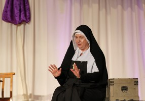 "Following the welcome to everyone, Providence Associate Sandra Hartlieb gives a dramatic portrayal of Saint Mother Theodore Guerin, using quotes from Mother Theodore's Journals and Letters. The hour-long presentation entitled ""In Her Own Words"" also included music and dance performed by Sandra's sister."