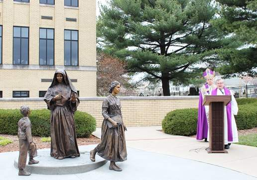 Bishop Charles Thompson joined Pastor Ray Brenner to bless and dedicate the statue. The weather was chilly but it didn't dampen people's spirits. The beautifully crafted statue was very well received!