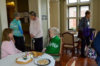 Visiting retired sisters in Lourdes Hall was one breakout session. From left are Providence Associate Candidate Eileen Horan, Sisters Mary Montgomery, Mary Ryan, Joyce Brophy and Providence Associate Rosaline Secrest.