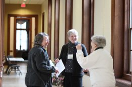 You never know what fun you will meet in the hallways at Saint Mary-of-the-Woods. From left Providence Associate Candidate Cynthia Montgomery and Associate Joanna Dailey chat with Sister Barbara Doherty who demonstrates a little jig for them.