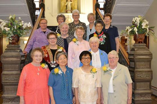 Nine Sisters of Providence celebrated their 50-yer Jubilees on Saturday, June 24. The sisters included (front row, from left) Sisters Marianne Mader, Celeste Tsai, Editha Ben, Danielle Sullivan (second row) Paula Damiano, Mary Montgomery and Jean Kenny (third row) Barbara McClelland and Delan Ma. They are pictured with General Councilors Sisters (back row) Mary Beth Klingel, Jeanne Hagelskamp, Lisa Stallings, Jenny Howard and Dawn Tomaszewski.