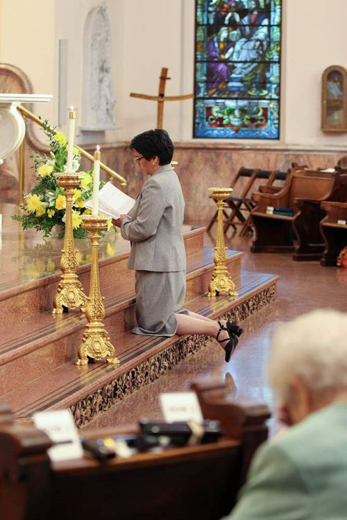 vows, kneel, pray, Sister of Providence, church, nun