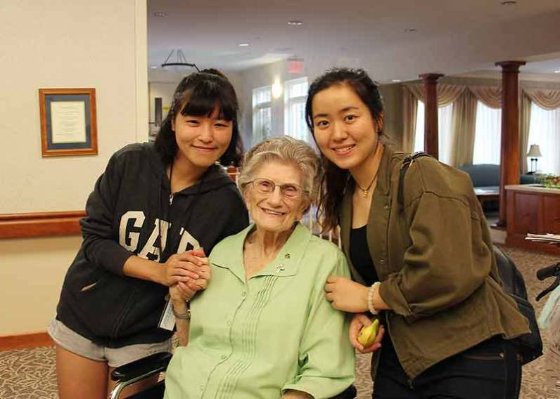 Saint Mary-of-the-Woods College students with Sister Marceline Mattingly. Students will take part in the college's Foundation Day of Service on Tuesday, October 24.