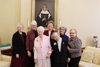 Sisters of Providence 75-year Jubilarians along with General Councilors included (front, from left) Sisters Mary Patricia Cummings and Francis Edwards, General Councilor Sister Mary Beth Klingel, (back) and General Councilors Sisters Jenny Howard, Lisa Stallings, General Superior Sister Dawn Tomaszewski and General Councilor Sister Jeanne Hagelskamp.