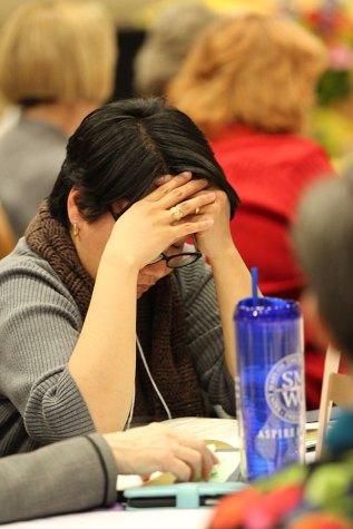 Sister Dina Bato at prayer during the retreat.