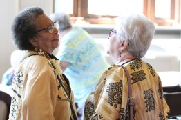 Sisters Kate Smith and Loretta Picucci visit at the reception
