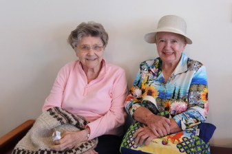 Smiling pretty are Sisters Ann Paula Pohlman and Carolyn Glynn.