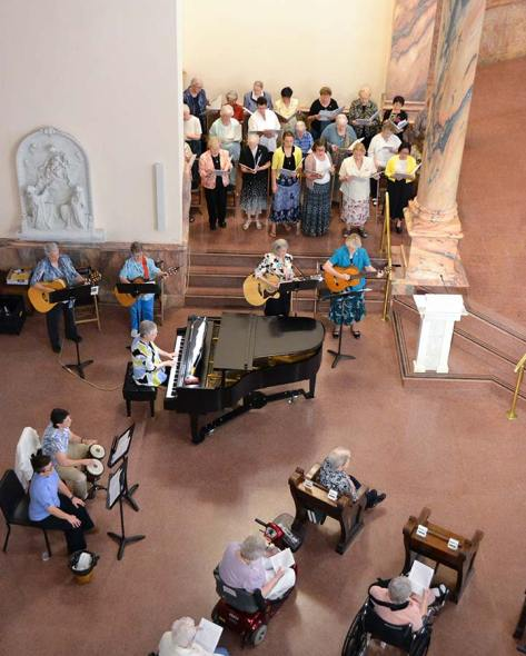 Sisters and associates gather as musicians at the Jubilee Mass on Saturday.