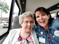 Katie Harich helping Sister Mary Lois Hennel take her first selfie at the age of 90.