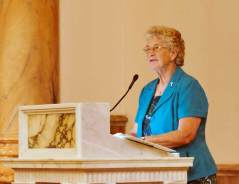 General Officer Sister Jenny Howard leads the prayers of praise and thanksgiving.