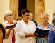 "All sing, ""Center of My Life."" From left, Vicar and General Officer Sister Lisa Stallings and Providence Associates Sarah Wilson and Traci Tucker."