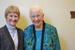 Candidate Michelle Barrentine and her companion Sister Carolyn Kessler.