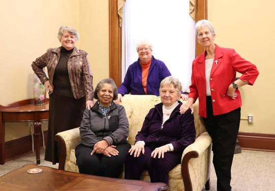 Celebrating 50 years as Sisters of Providence in 2018 were, from back left, Sisters Jody O'Neil, Jan Craven and Marianne Ridgell. Celebrating 25 years are, seated, Sisters Kathleen Bernadette Smith and Patricia Linehan.