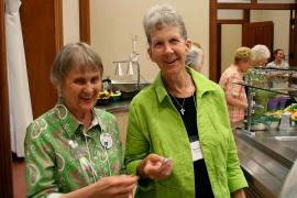 Sister Marianne Ridgell, right, with Providence Associate Carol Passmore during a summer gathering.