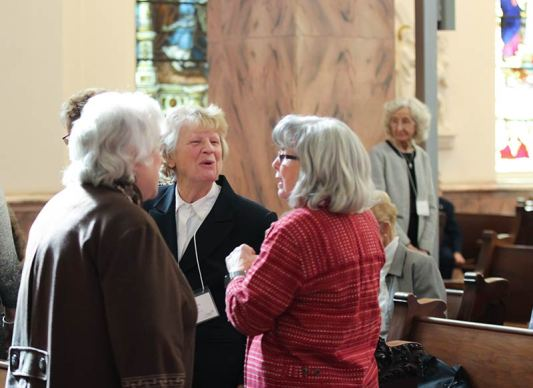 Sharon Woods visits with two Providence Associate friends
