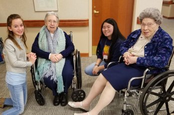 Sisters Dorothy Drobis and Miriam Clare Stoll enjoy time with the teens
