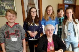 Sister Loretta Picucci with a group of teen volunteers