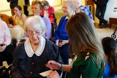 Sister Charles Ellen Turk with a teen volunteer.