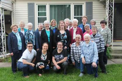 Sister Arrainne Whittaker, SP, DO, recently graduated from Marian University. Joining her in the celebration were (front, from left) Sisters Corbin Hannah, Tracey Horan, Emily TeKolste, Barbara Battista and Susan Dinnin, along with (back) Sisters Mary Ann Stewart, Jenny Howard, Connie Kramer, Donna Butler, Marsha Speth, Janice Smith, Arrainne, Marilyn Herber, Mary Kay Duffy, Barbara Reder, Dawn Tomaszewski, Beth Wright, Jeanne Hagelskamp, Patty Wallace and Carole Kimes.