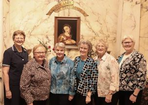 Sister Katherine Francis French celebrated her 50th Jubilee on Wednesday, July 3, 2019. Standing with Sister Katherine (third from left) are General Councilors (from left) Sister Dawn Tomaszewski, General Superior, Sister Mary Beth Klingel, Sister Jeanne Hagelskamp, Sister Jenny Howard and Sister Lisa Stallings.