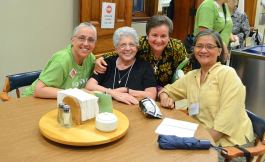 From left, Sisters Barbara Battista, Marilu Covani, Anne Therese Falkenstein and Rosa Pan at the Satruday evening social.