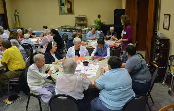 Sisters enjoying the art therapy demonstration. From left, Sisters Mary Rita Griffin, Jane Michael Dwyer, Kathleen Leonard and Delan Ma.