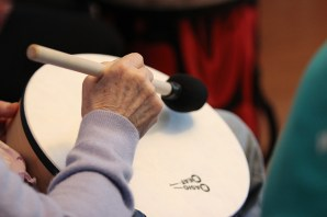 Music therapy drumming.