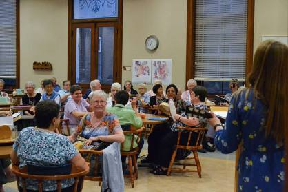 Sisters and Providence Associates engage in a music therapy workshop Sunday evening.