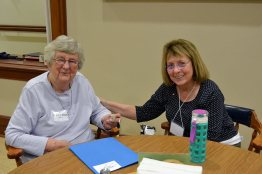 Sister Ruth Ellen Doane and Providence Associate Linda McMahon chat during a social time.