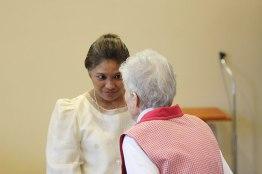 Sister Ann Stephen Stouffer greets Sister Jessica