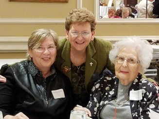 Sister Dawn with Janet Trzaskas (left) and Lorraine Niski Trzaskas (right). Janet went to Mother Theodore Guerin High School and Lorraine graduated from Providence High School in 1944. She traveled from California to attend the reunion.