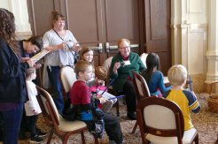 Sister Mary Beth Klingel helps lead the sing along