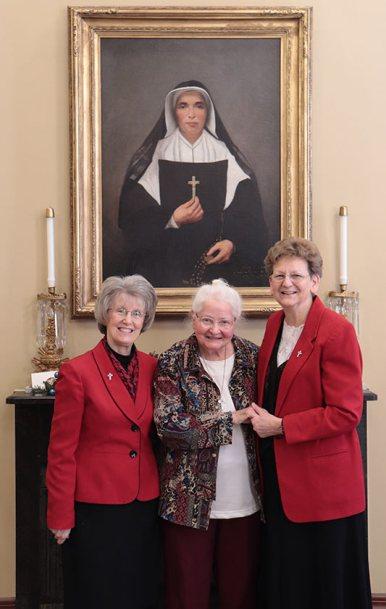 Sister Charles Van Hoy with General Officers Sisters Jeanne Hagelskamp and Dawn Tomaszewski
