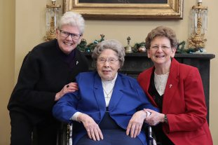 75-year celebrant Sister Miriam Clare Stoll, center, with General Officers Sisters Lisa Stallings and Dawn Tomaszewski