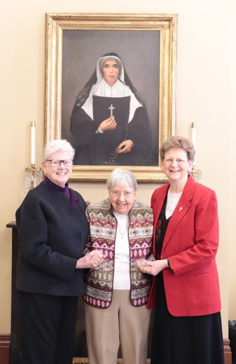Sister Suzanne Buthod, center, wtih General Officers Sisters Lisa Stallings and Dawn Tomaszewski