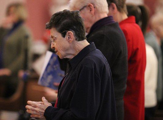 Sister Paula Modaff at prayer