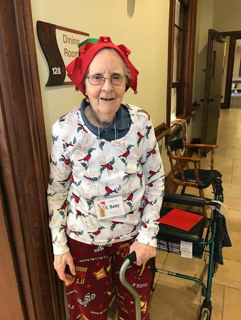Sister Betty Donoghue all decked out as Santa's helper
