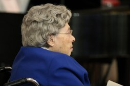 Sister Miriam Clare Stoll listens