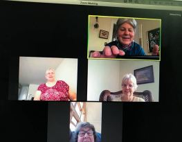 Virtual group from top: Providence Associate Diann Neu, Sister Laura Parker, Barbara Sheehan and Providence Associate Kathryn Martin