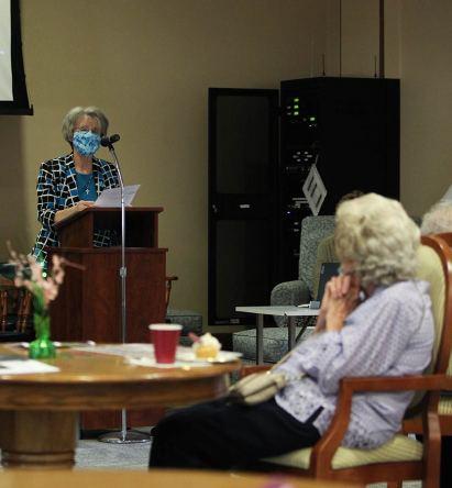 Sister Jeanne Hagelskamp speaks